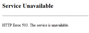 HTTP Error 503. The service is unavailable