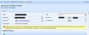 Dynamics CRM Workflow Error: SQL Server error occured